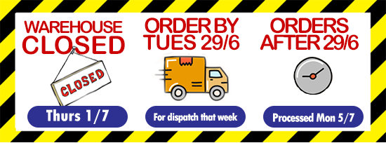 Warehouse Closed for Stocktake Thursday 1st July. Order by Tues 29th June for delivery that week. Orders received after 29th June processed from Monday 5th July